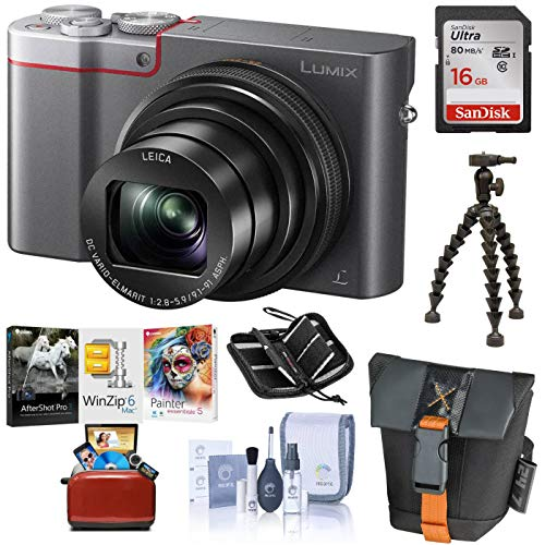 Panasonic LUMIX ZS100 4K Digital Camera, 20.1 Megapixel 1-Inch Sensor, 10X Zoom Leica Lens DMC-ZS100S (Silver), Bag + Tripod + 16GB SD Card/Case + Corel Mac Software Pack + Cleaning Kit