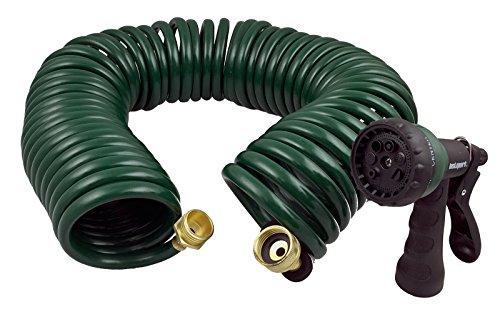 GHN-06 Heavy-duty EVA Recoil Garden Hose with 7-Pattern Spray Nozzle, Green, 50 Foot