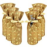 Wine Gift Bag - Wine Bags for Wine Bottles Gifts - 6 Wine Gift Bags and 3 Wine Stoppers (Deer Gift Bag)
