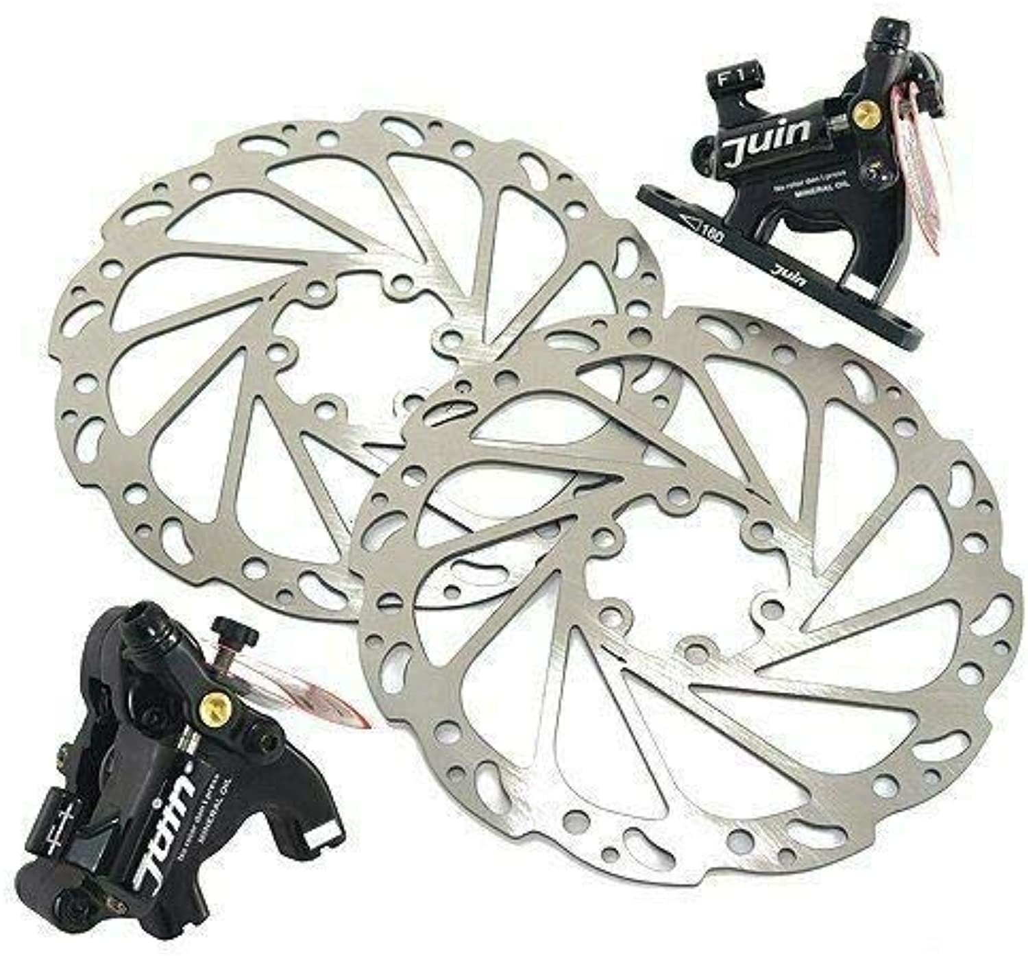 JUIN TECH F1 Hydraulic Flat Mount Road CX Disc Brake Set 160mm w redor, Black  JT1691