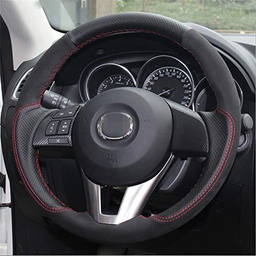 LUOERPI Schwarzes Leder Schwarzer Auto-Lenkradbezug aus Wildleder, für Mazda 3 Axela 2013-2016, für Mazda 6, für Mazda 2 2015-2017 Atenza