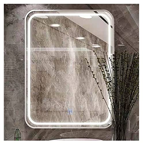 LYLSXY Grande Specchio da Bagno, Specchio per Trucco per Vanità A Parete con Commutazione Tattile Sensore, per Il Trucco, Rasatura (Color : White, Size : 70x50cm)