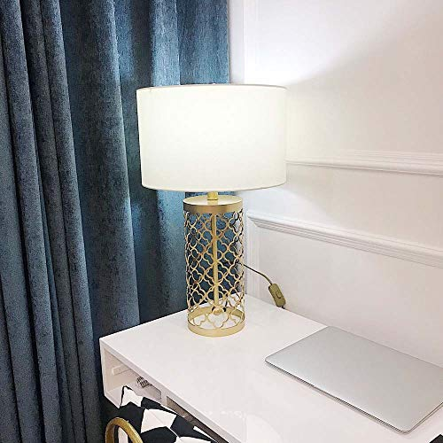 BICCQ table lamps LED Gold Retro Wrought Iron Hollow Lamp Seat Table Lamp Bedroom Bedside Table Lamp Lighting Lamps Country Bronze Creative Table Lamp Romantic Warm Retro Model Room Hotel Bedroom Liv