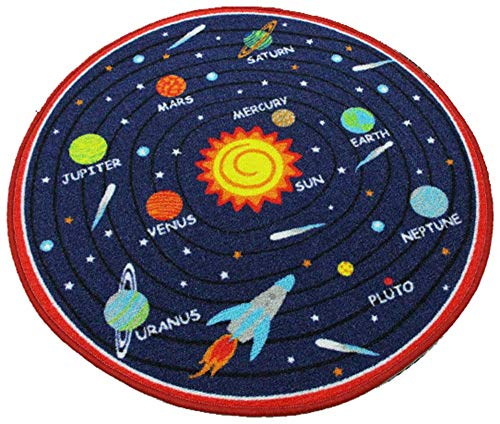 HUAHOO Kids Round Rug Solar System Learning Area Rug Children's Fun Area Rug - Non Slip Bottom (Solar System, 39' Diameter Round)