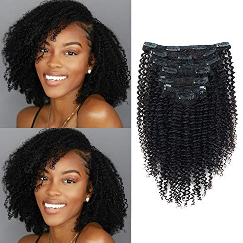 Glowingwin 9A Grade 3C 4A Kinky Curly Hair Clip in for Black Women Brazilian Remy Hair Extensions Natural Color 7 Pieces 120g with 17 Clips 12 Inch