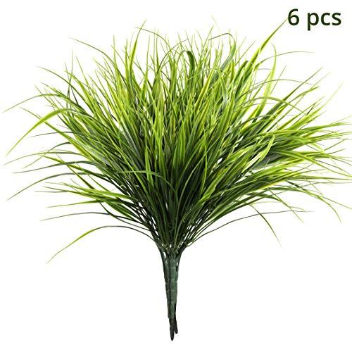 Künstliche Weizengras Pflanzen Grün (6Stücke) - 37cm Kunstpflanzen - Faux Plastik Strauch Kraut für Außen, Innen, Wohn Tischdeko, Hängende Körbe Pflanzen, Garten, Büro, Balkon und Hochzeit Deko