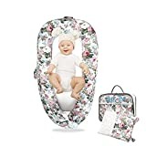 Baby Lounger and Baby Nest Sharing Co Sleeping Baby Bassinet - with Two (2X) Covers100% Soft Breathable Cosleeping Baby Bed Premium Quality -Breathable Portable Crib (Flower Pattern)