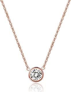 WaMLFac 18K Women's Titanium Steel Rose Gold Plated Golden Short Chain Single Zircon Clavicle Necklace 17 Inch