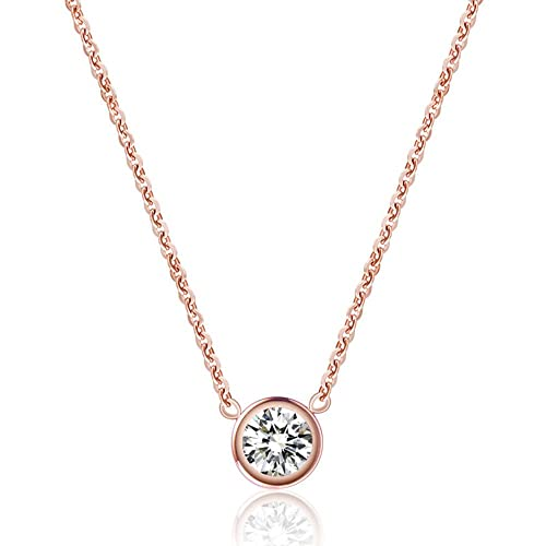 d442b8e620f8a WaMLFac 18K Women s Titanium Steel Rose Gold Plated Golden Short Chain  Single Zircon Clavicle Necklace 17