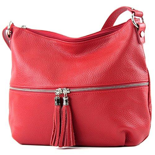 modamoda de - T159 - ital Umhängetasche Schultertasche aus Leder, Farbe:Rot