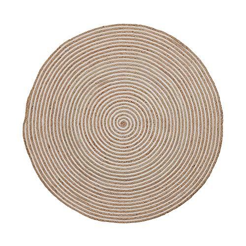 Kave Home - Alfombra Redonda Saht Ø 150 cm de Yute Natural y Trenzado de algodón Blanco
