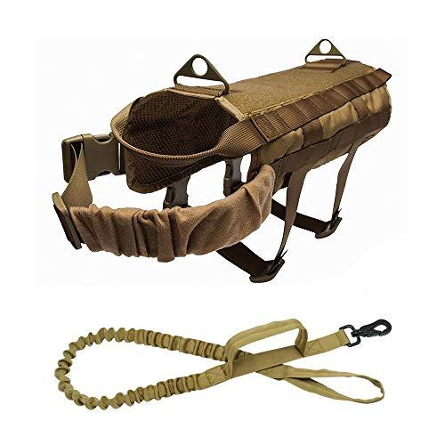 HYXHX Tactical Haustier Weste, K9 Tactical Hundegeschirr, 1000D Nylon MOLLE Weste Zugseil, Jagdgeschirr Für Das Militärische Training Im Freien,Mud,XL