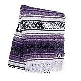Orizaba Original Purple Black & White Hand-Woven Mexican Blanket | Falsa | Saltillo | Serape | Beach | Yoga | Home Decor | Picnic | Sarape | Cinco De Mayo - Zacatecas