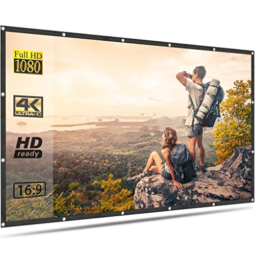 Projector Screen for Outdoor Movies 100 inch Portable Foldable Anti Crease 16:9 4K HD Projection Video Film Screen for Home Theater Indoor Support Front Rear Projection