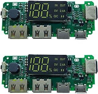 Fltaheroo LED dubbel USB 5 V 2,4 A/Typ-C USB mobil strömbank 18650 laddningsmodul litiumbatteriladdare kort 2 st