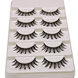 PURELEOR 3D Wispies False Eyelashes Long Lashes With Volume for Women's Make Up Bulk Extensions Handmade Soft Fake Eye lash,5 Pairs