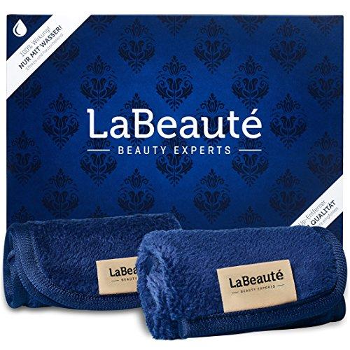 LaBeauté Abschminktücher Mikrofaser (2 Stück), waschbar und wiederverwendbar, Gesichtsreinigungstücher, Make Up Entferner Tuch (21x21 cm, Navy-Dunkelblau)