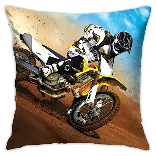 QUEMIN Fundas de almohada de carreras, Motocross, cojín de almohada para decoración del hogar para sofá, cama, coche, 45,7 x 45,7 cm