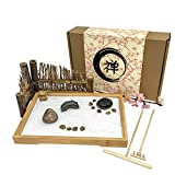 Japanese Zen Garden for Desk - 11x7.5 Inches Large - Bamboo Tray, White Sand, River Rocks, Pebbles, Rake Tools Set - Office Table Accessories, Mini Zen Sand Garden Kit - Meditation Gifts