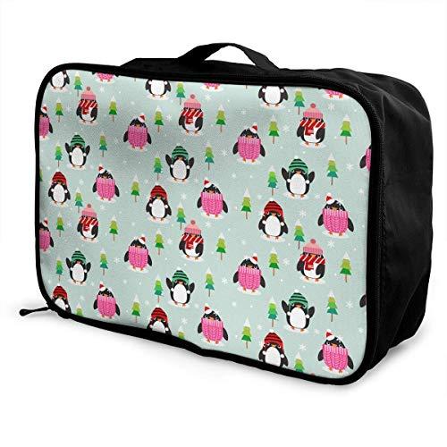 Bolsa de lona de viaje, bolsa de viaje con ruedas para equipaje, maletas ligeras portátiles, bolsa de lona, bolso de mano, pingüinos en Navidad Patt