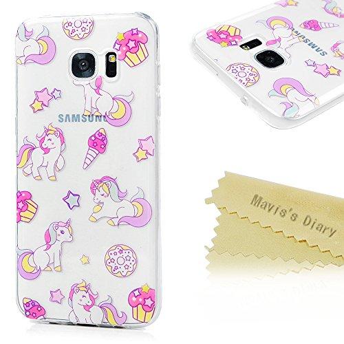Mavis's Diary Samsung Galaxy S7 Edge Hülle TPU Silikon Handyhülle Schutzhülle Schale Etui Bumper Protective Case Back Cover Rück Einhorn