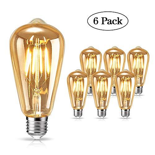 Lampadina Vintage Edison, tonitott Lampadina LED Edison 4W E27 Bianco Caldo Decorativa Retro Filamento Lampade Vintage Lampadine Ideale per Casa, Ristorante, Bar, Caffe, Negozio - 6 Pezz