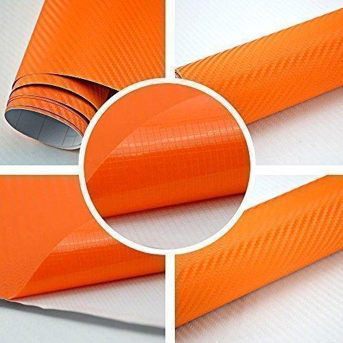 TipTopCarbon 8,55€/m² Autofolie 3D Carbon Orange 152cm breit BLASENFREI mit Luftkanäle 3D Flex Selbstklebende Folie Auto folierung