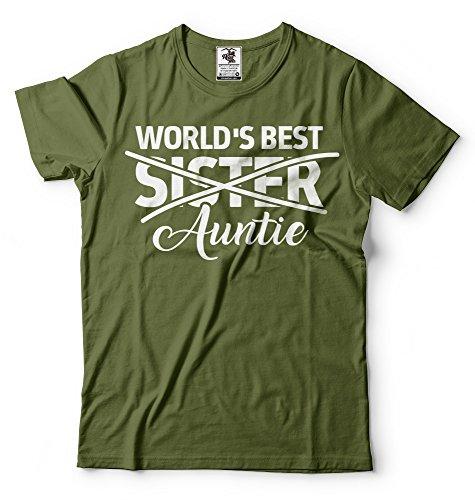 Silk Road Tees El Regalo del bebé Announcet de Las Mujeres para la Hermana de los Mundos La Mejor tía Camiseta Nueva tía tee Large Verde Militar