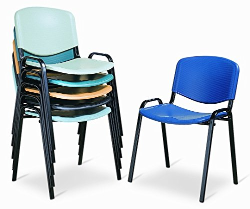 Europrimo Sedia da Ufficio Poltrona Fissa per Sala Attesa Metallo e plastica Blu impilabile