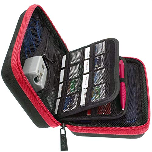 BRENDO New 2DS XL Case, 3DS XL Carry Case With 24 Game Cartridge Holders and Large Stylus - BLACK/RED