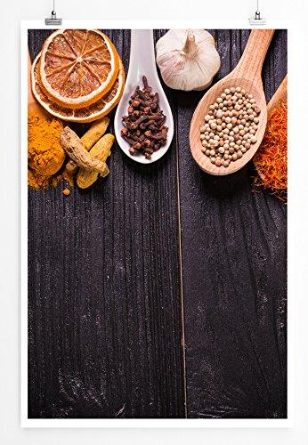 Eau Zone Home foto – food-fotografie – houten lepel met verschillende specerijen – fotodruk in haarscherpe kwaliteit LEINWANDBILD gespannt 90x60cm