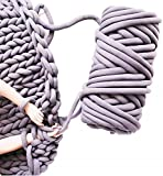 2.2lbs Chunky Braid Tube Fun Arm Knitting Yarn for Easy Extreme Quick Crochet Relax Handmade DIY Weighted Cozy Bulky Cable Throw Blankets Pillow Pet Bed (Grey, 34 oz / 131ft)