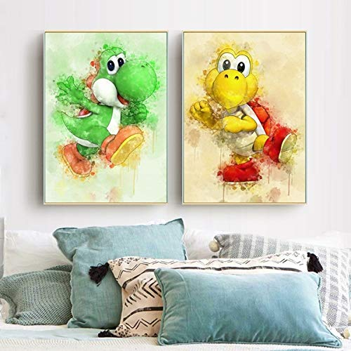 2 Piece Yoshi Super Smash Bros Game Poster Cartoon HD Wall Pictures Canvas Paintings for Home Decor Wall Art (Unframed-No Framed,12x18inchx2)