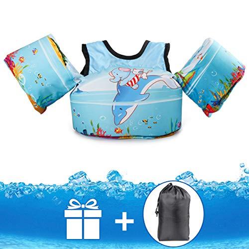 Jevdes - Flotador con cinturón de seguridad para niños de 2 a 7 años, 10-30 kg, para principiantes en natación, hipoalergénico, no necesita inflado, multicolor, Elefante y delfín.