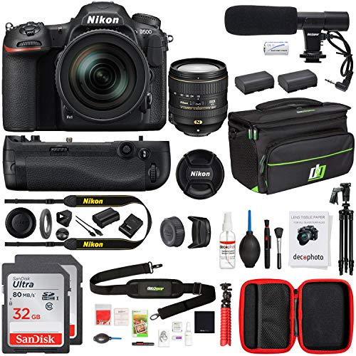 Nikon 1560 D500 20.9 MP CMOS DX Format DSLR Camera with 16-80mm VR Lens Kit Bundle with 2X 32GB Memory Card, Editing Suite, Bag, Microphone, Battery Grip, 2X Battery, Cleaning Kit and 60 Inch Tripod