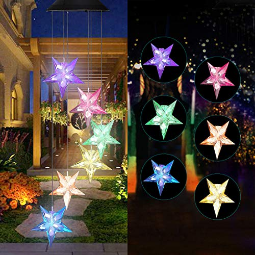 Vinkki Wind Chime Solar Light Color Changing LED Solar Mobile Blue Star Wind Chime Solar Light Wind Mobile Portable Waterproof Outdoor Decorative Romantic Wind Bell Light for Patio Garden Home Party