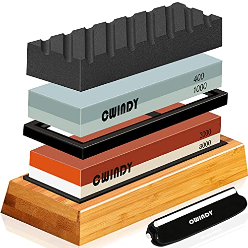 Whetstone Sharpening Stone Kit Dual Sided 400/1000 & 3000/8000 Grit Professional Whetstone knife Sharpener Stone Wet Stone Set Nonslip Bamboo Base Angle Guide, and Flattening Stone
