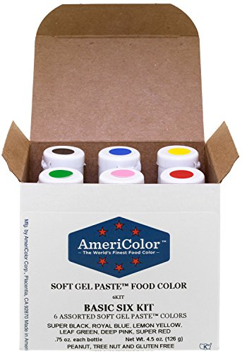 AmeriColor Basic Six Kit Soft Gel Paste Food Color, 0.75 Ounce, 6 Pack Kit