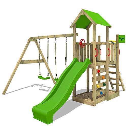 FATMOOSE Parque infantil de madera MagicMango Move XXL con columpio y tobogán, Torre de escalada de exterior con arenero y escalera para niños