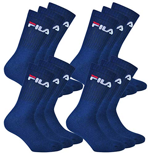 Fila 12 Paar Socken, Frottee Tennissocken mit Logob&, Unisex (4x 3er Pack) (Marine, 35-38 (3-5 UK))