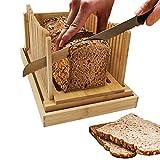 Cortador de pan plegable de madera de bambú, tamaño compacto, con guía...