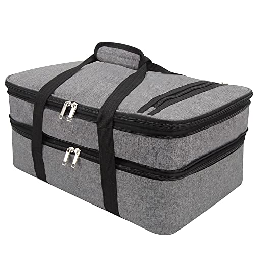 FATOLXX Insulated Casserole Carry Bag - Decker Casserole Carrier Tote Food Bag Potluck Parties,Picnic,Cookouts,Traveling,Beach(Gray-2)