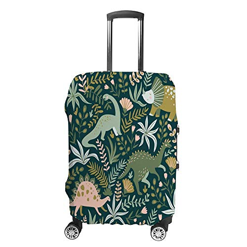 Luggage Cover Thickened Washable Green Hand Drawn Dinosaurs Polyester Fibe Elastic Foldable Lightweight Travel Suitcase Protector