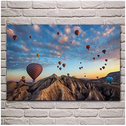 MULMF Globo De Aire Caliente Sueños De Capadocia Turquía Sala De Estar Casa Pared Arte Decoración Lienzo Carteles-50X75 Cm Sin Marco