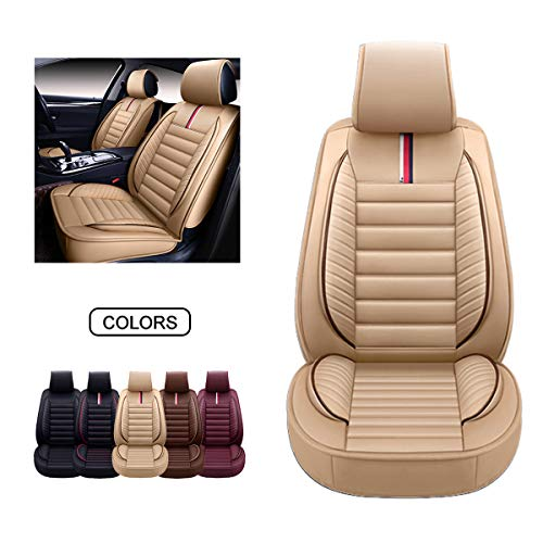 OASIS AUTO Leather Car Seat Covers, Faux Leatherette Automotive Vehicle Cushion Cover for Cars SUV Pick-up Truck Universal Fit Set for Auto Interior Accessories (Tan, OS-001 Front Pair)