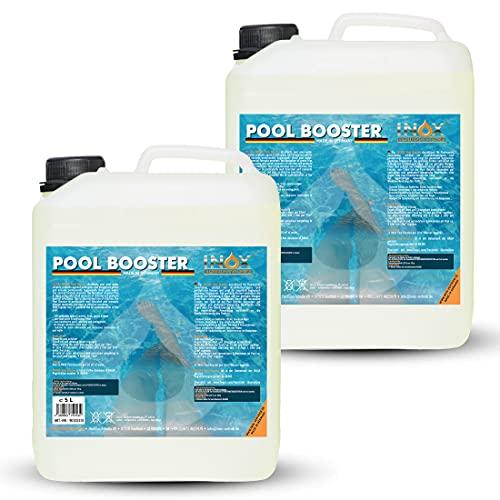 INOX® Pool Booster - 2 x 5L - Effektiver Algenvernichter Pool - Flüssiges Algizid für Pool - desinfizierendes Reinigungsmittel gegen Algen - Hochwirksame Pool Chemie