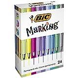 BIC  MarkingMarcadoresPermanentes, Intensos/Pastel/Metalizado, Paquete de 24