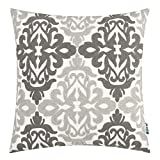 HWY 50 Decorative Throw Pillows Covers Dark Grey and Light Gray Embroidered Square Pillows Covers Cushion Cases for Couch Sofa Living Room Farmhouse Accent Geometric Floral Decor 18 x 18 inch 1 Piece