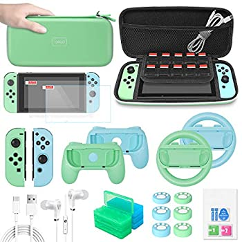 FASTSNAIL Switch Accessories Bundle Upgraded Essentia Pack for Nintendo Switch with Carrying Storage Case & Screen Protector,Handle Grips for Joy Con&Steering Wheels,Game Cases