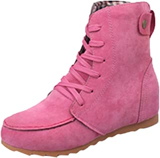 Women Flat Ankle Snow Motorcycle Boots Female Suede Leather Lace-Up